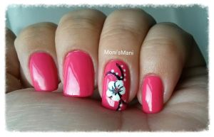 hot pink and white flower mani  2