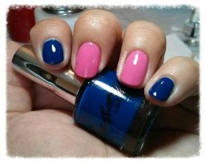 shine & sheen blue and pink mani