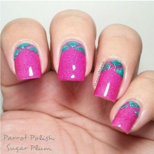 parrot polish sugar plum nailart